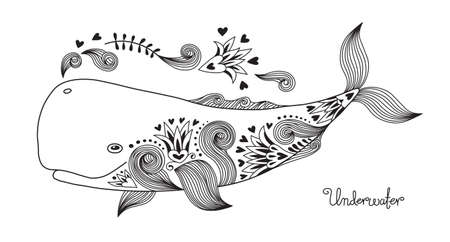 whale underwater: Tattoo Print Happy Whale with Patterns. Vector Illustration.