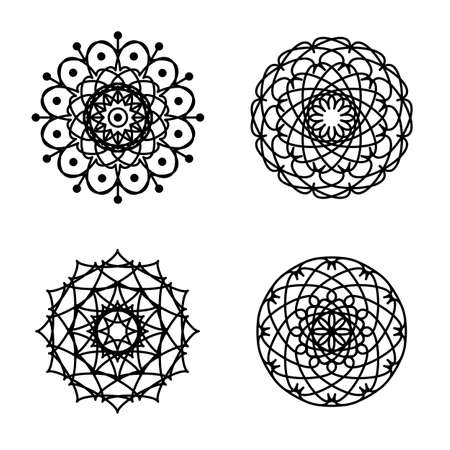 Ornament round set with mandala. Geometric circle isolated element in vector. Vector