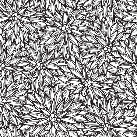peony black: Seamless pattern with flowers Dahlia. Vector Illustration. Illustration