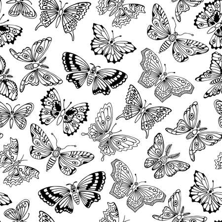 black butterfly: Seamless pattern with decorative butterflies. Vector illustration. Illustration