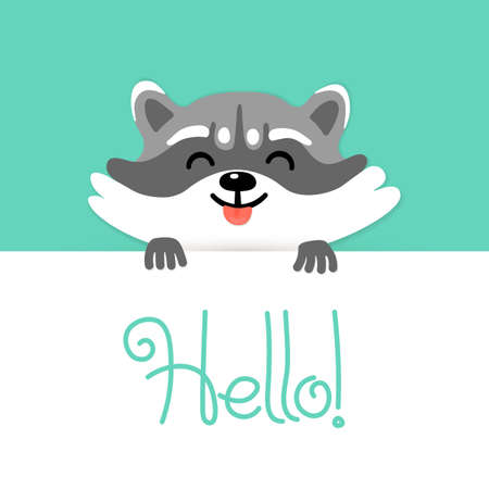 Cute raccoon tell you hello.  Stock Illustratie