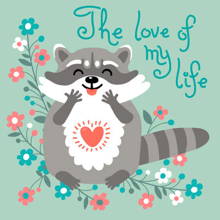 declaration: Card to the birthday or other holiday with cute raccoon and a declaration of love.