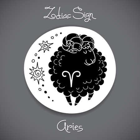 Aries zodiac sign of horoscope circle emblem in cartoon style.  Vector