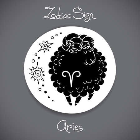 prognosis: Aries zodiac sign of horoscope circle emblem in cartoon style.