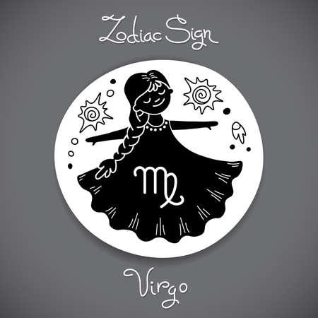 virgo: Virgo signo del zodiaco del horóscopo círculo emblema en el estilo de dibujos animados.