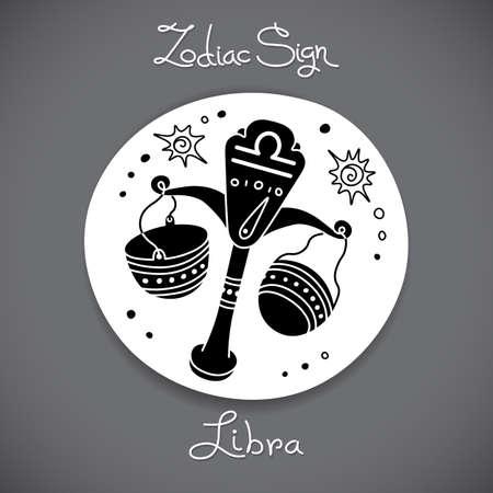 signes du zodiaque: Balance signe du zodiaque de l'emblème de cercle horoscope dans un style de bande dessinée.