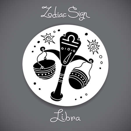 zodiacal signs: Libra zodiac sign of horoscope circle emblem in cartoon style. Illustration