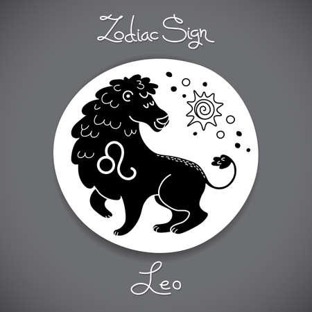 signes du zodiaque: Leo signe du zodiaque de l'embl�me de cercle horoscope dans un style de bande dessin�e. Vector illustration. Illustration