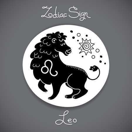 Leo zodiac sign of horoscope circle emblem in cartoon style. Vector illustration.