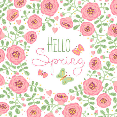 green floral: Season card Hello Spring with cute flowers and butterflies. Vector illustration.