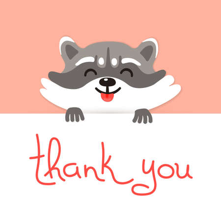 Cute raccoon says thank you. Vector illustration. 版權商用圖片 - 39621661