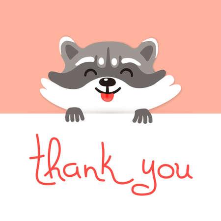 regards: Cute raccoon says thank you. Vector illustration.