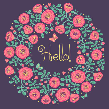 hello heart: Vector floral card with wreath from flowers, leaves and text Hello. Bright romantic cartoon card in vector Illustration