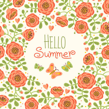 Season card Hello Summer with cute flowers and butterflies. Vector illustration. Vector