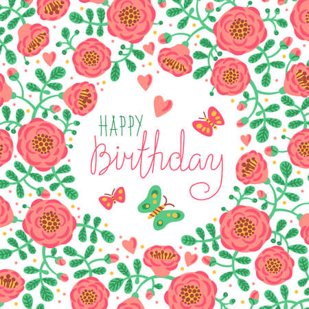 Vintage card Happy Birthday with cute flowers and butterflies. Vector illustration.
