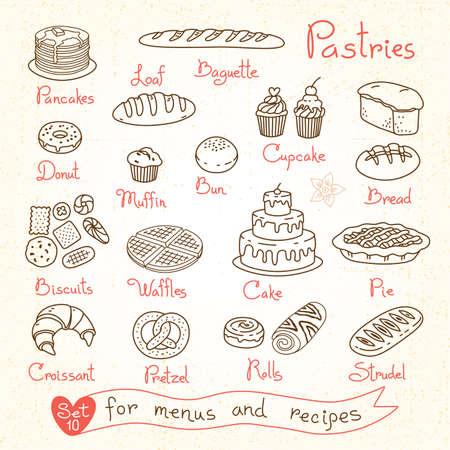 hot cakes: Establecer dibujos de pasteles y pan para recetas y menús paquetes de diseño de producto. Ilustración del vector.