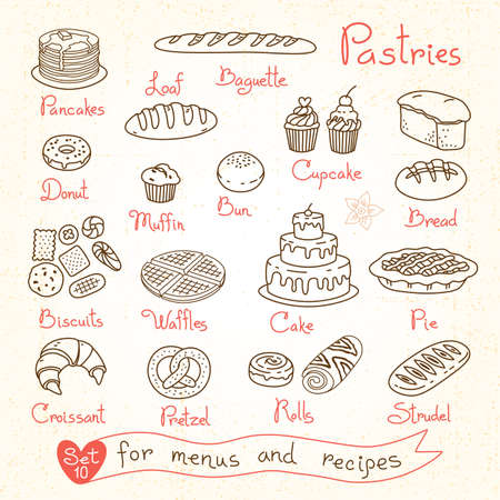 Tekeningen van gebak en brood instellen voor recepten en pakketproducten van het ontwerpmenu. Vector illustratie.
