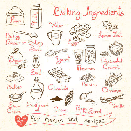 postres: Dibujos Conjunto de ingredientes para hornear para recetas menús diseño. Ilustración del vector.