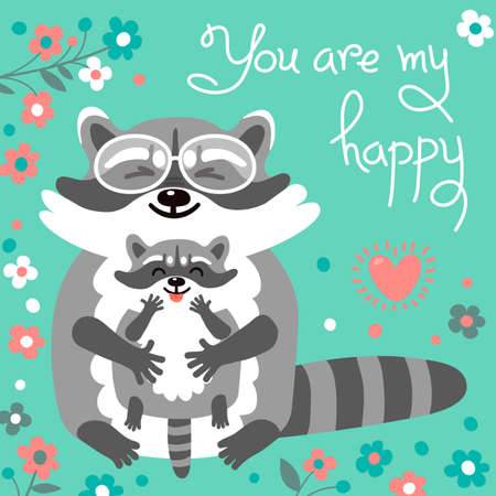 declaration: Card with cute raccoons and a declaration of love. Vector illustration.