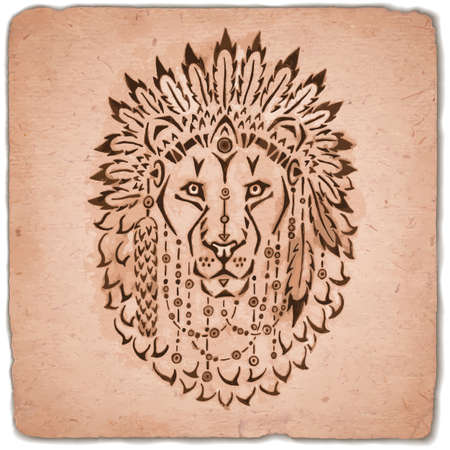 indian tribe: Lion in war bonnet hand drawn animal illustration native american poster