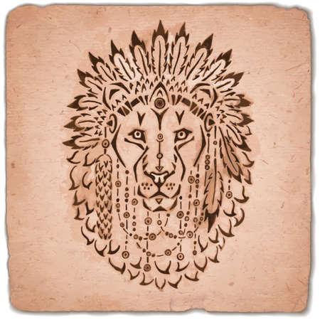 totem: Lion in war bonnet hand drawn animal illustration native american poster