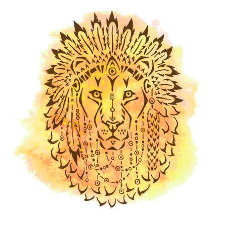 lion dessin: Lion en bonnet de guerre dessinés à la main illustration animale affiche native american conception de T-shirt Illustration