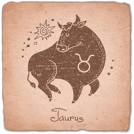 Taurus zodiac sign horoscope vintage card. Vector illustration. 向量圖像