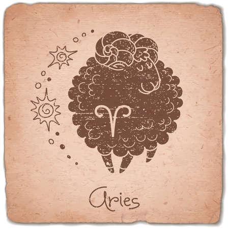 Aries zodiac sign horoscope vintage card. Vector illustration. Vectores