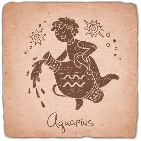 tribal aquarius: Aquarius zodiac sign horoscope vintage card. Vector illustration. Illustration