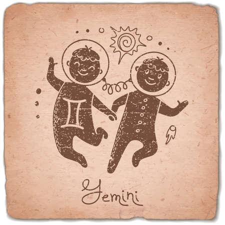 zodiac: Gemini zodiac sign horoscope vintage card. Vector illustration.