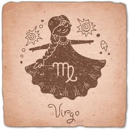 zodiac: Virgo zodiac sign horoscope vintage card. Vector illustration.