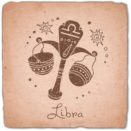12 month old: Libra zodiac sign horoscope vintage card. Vector illustration.