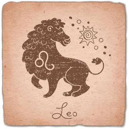 Leo zodiac sign horoscope vintage card. Vector illustration. Vectores