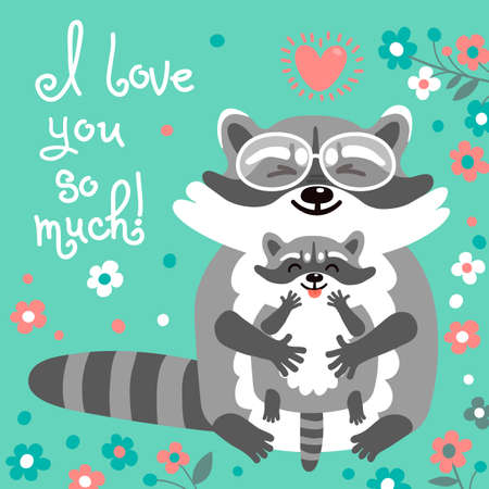 raccoons: Card with cute raccoons and a declaration of love. Vector illustration.