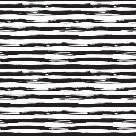 stripes: Vector seamless pattern with black brush strokes. Monochrome hand drawn texture. Modern graphic design made with ink.