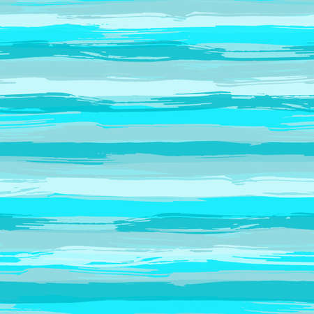 Vector seamless pattern with blue brush strokes. Striped sea background in shades of aqua blue. Texture for web, print, wallpaper, home decor or website background