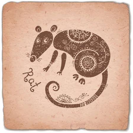 rata caricatura: Rat. Muestra del zodiaco chino. Silueta con el ornamento �tnico. Tarjeta de la vendimia del hor�scopo. Ilustraci�n del vector.