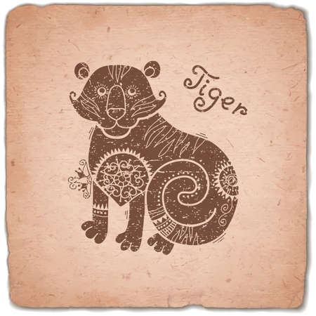Tiger. Chinese Zodiac Sign. Silhouette with Ethnic Ornament. Horoscope Vintage Card. Vector illustration.