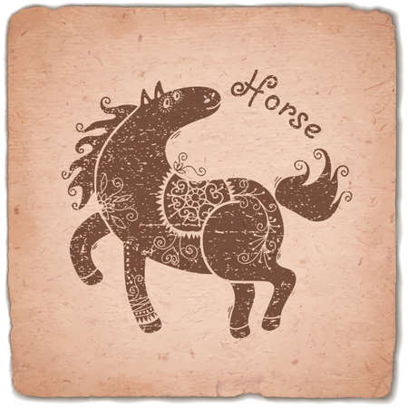 eastern zodiac: Horse. Chinese Zodiac Sign. Silhouette with Ethnic Ornament. Horoscope Vintage Card. Vector illustration.