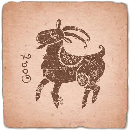 eastern zodiac: Goat. Chinese Zodiac Sign. Silhouette with Ethnic Ornament. Horoscope Vintage Card. Vector illustration. Illustration