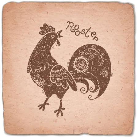 gallo: Gallo. Signo del zodiaco chino. Silueta con el ornamento �tnico. Tarjeta de la vendimia hor�scopo. Ilustraci�n del vector.