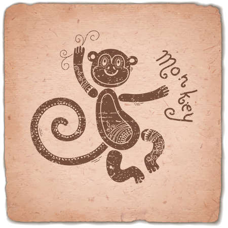 eastern zodiac: Monkey. Chinese Zodiac Sign. Silhouette with Ethnic Ornament. Horoscope Vintage Card. Vector illustration.