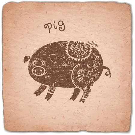 Pig. Chinese Zodiac Sign. Silhouette with Ethnic Ornament. Horoscope Vintage Card. Vector illustration. Illustration