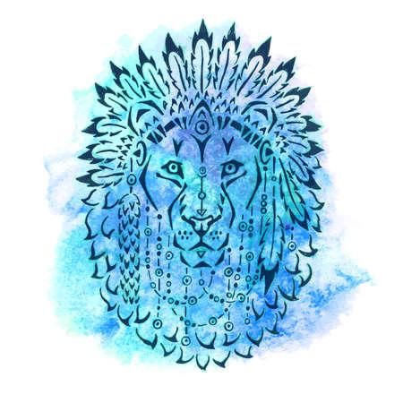 Lion in war bonnet, hand drawn animal illustration, native american poster, t-shirt design