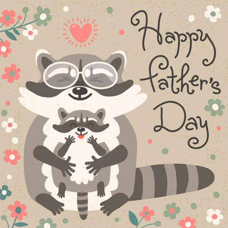 raccoons: Card with cute raccoons to Fathers Day. Vector illustration. Illustration