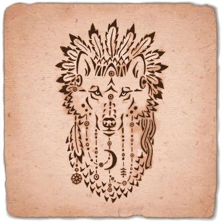 Wolf in war bonnet, hand drawn animal illustration, native american poster 일러스트