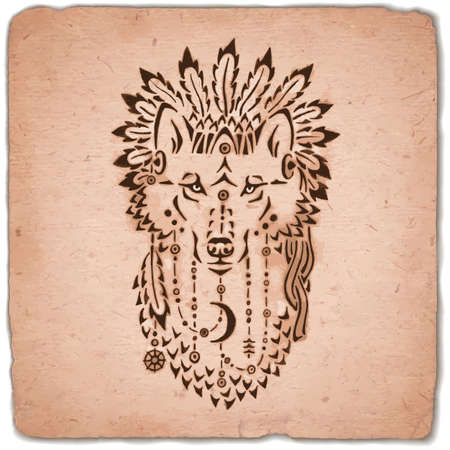 Wolf in war bonnet, hand drawn animal illustration, native american poster Stock Illustratie
