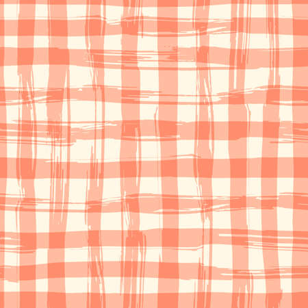red and white: seamless pattern with square hand drawn texture. Red checkered tablecloth. Illustration