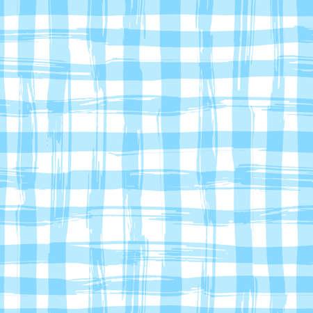 正方形のシームレスなパターンは、描かれたテクスチャを手します。青い格子縞のテーブル クロス。