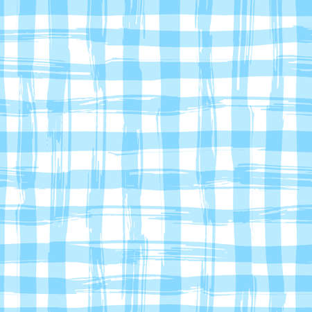 seamless pattern with square hand drawn texture. Blue checkered tablecloth.